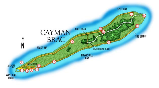 Map of Cayman Brac